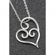 Ornate Silver Plated Pave Swirl Necklace