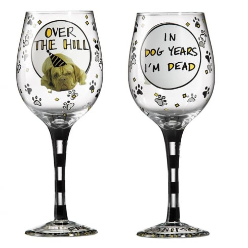Hoots N Howlers Over The Hill Wine Glass