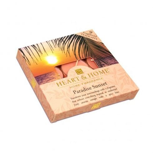 Heart & Home Pack of 9 Tealight Candles Paradise Sunset