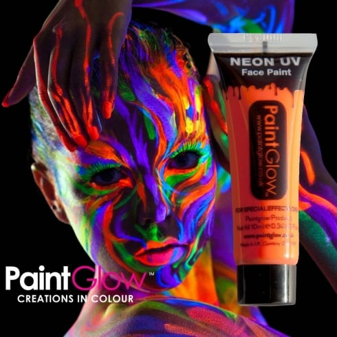 Wicked Costumes PaintGlow Neon UV Face & Body Paint Orange