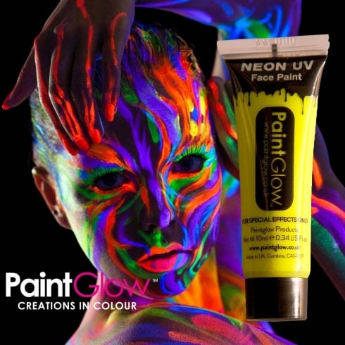 Wicked Costumes PaintGlow Neon UV Face & Body Paint Yellow