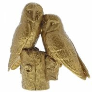 Pair Of Owls Gold Figurine