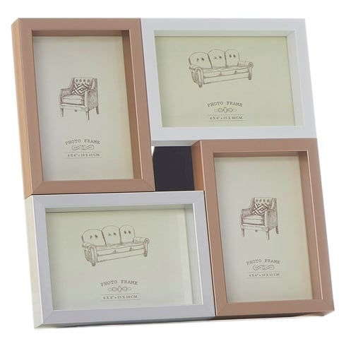 Shudehill Giftware Pastel Metalic Multi 4 Picture Photo Frame