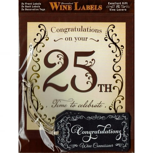 Mulberry Studios Personalised Wine Label - 25th