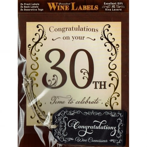 Mulberry Studios Personalised Wine Label 30th