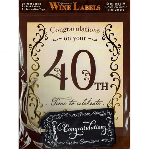 Mulberry Studios Personalised Wine Label - 40th