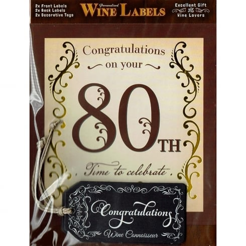 Mulberry Studios Personalised Wine Label - 80th