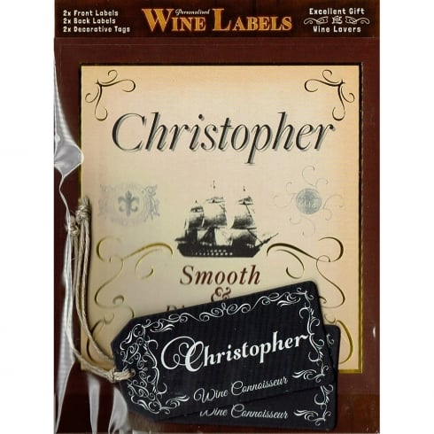 Mulberry Studios Personalised Wine Label Christopher