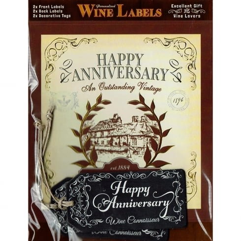 Mulberry Studios Personalised Wine Label Happy Anniversary