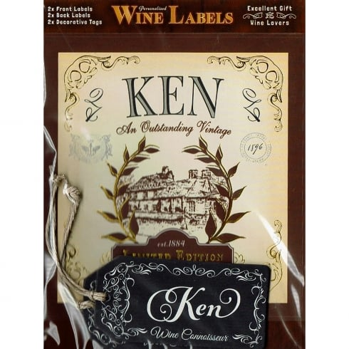 Mulberry Studios Personalised Wine Label Ken