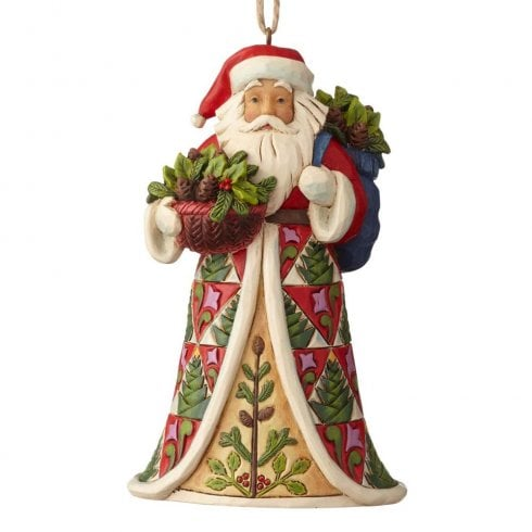 Jim Shore Heartwood Creek Pinecone Santa Hanging Ornament