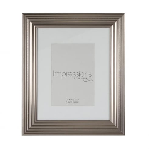 Impressions By Juliana Plastic Ribbed Pewter 5 x 7 Photo Frame
