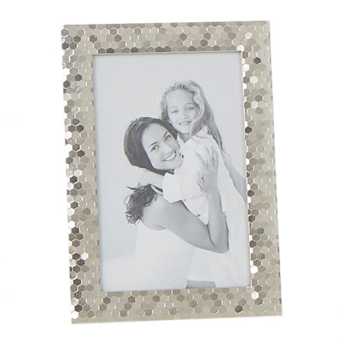 Shudehill Giftware Polished Silver Plated Honeycomb Pattern 4 x 6 Photo Frame