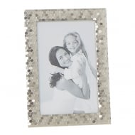 Polished Silver Plated Honeycomb Pattern 4 x 6 Photo Frame