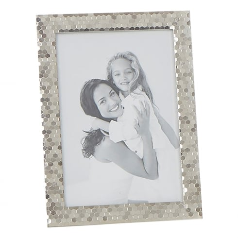 Shudehill Giftware Polished Silver Plated Honeycomb Pattern 5 x 7 Photo Frame