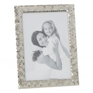 Polished Silver Plated Honeycomb Pattern 5 x 7 Photo Frame