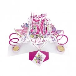Pop Up Butterflies 3D 50th Birthday Card POP192