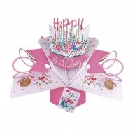 Pop Up Cake 3D Pink Happy Birthday Card POP172