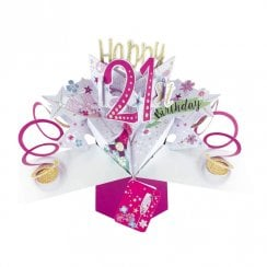 Pop Up Champagne 3D 21st Birthday Card POP187
