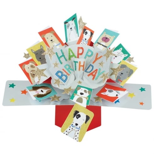 Second Nature Pop Up Dogs 3D Happy Birthday Card POP137