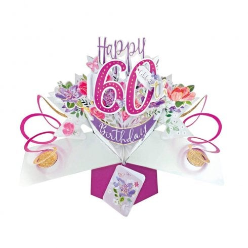 Second Nature Pop Up Flowers 3D 60th Female Birthday Card POP193