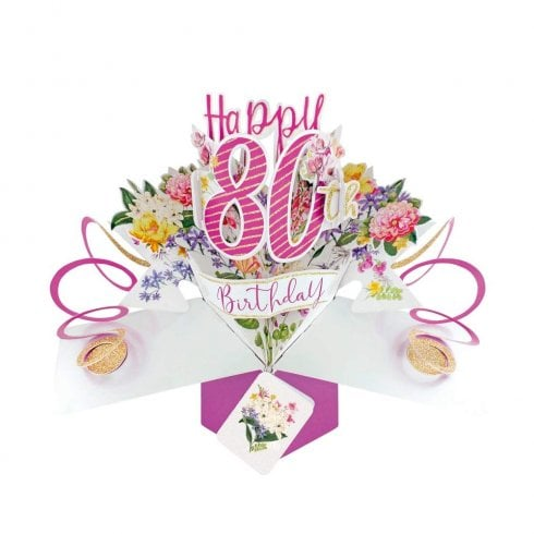 Second Nature Pop Up Flowers 3D 80th Birthday Card POP196