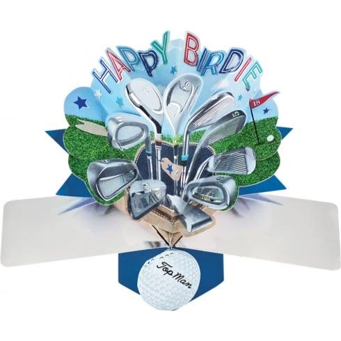 Second Nature Pop Up Golf 3D Happy Birdie Golf Birthday Card POP135
