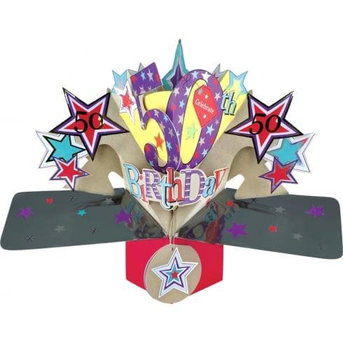 Second Nature Pop Up Stars 3D 50th Happy Birthday Card POP151