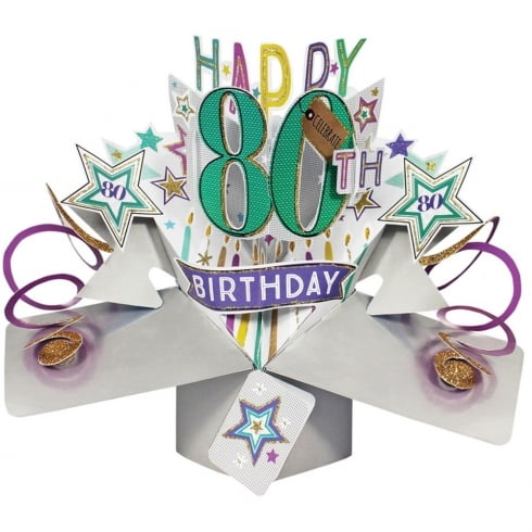 Second Nature Pop Ups Card 80th Birthday