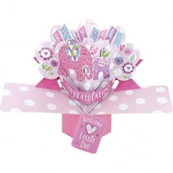 Pop Ups Card Baby Girl Elephants