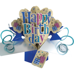 Pop Ups Card Blue Happy Birthday