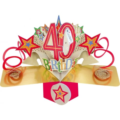 Second Nature Pop Ups Card Celebrate 40th Birthday