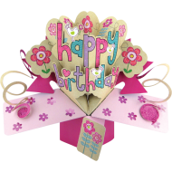 Pop Ups Card Pink Happy Birthday