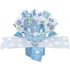 Pop Ups Elephants 3D Congratulations Baby Boy Card POP144