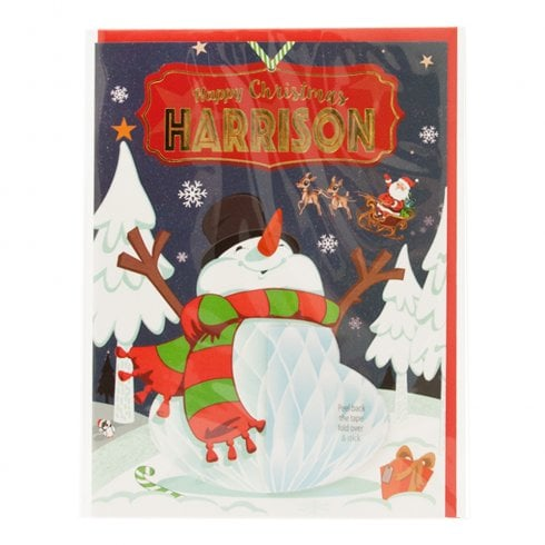 History & Heraldry Pre-personalised Christmas Card for Harrison