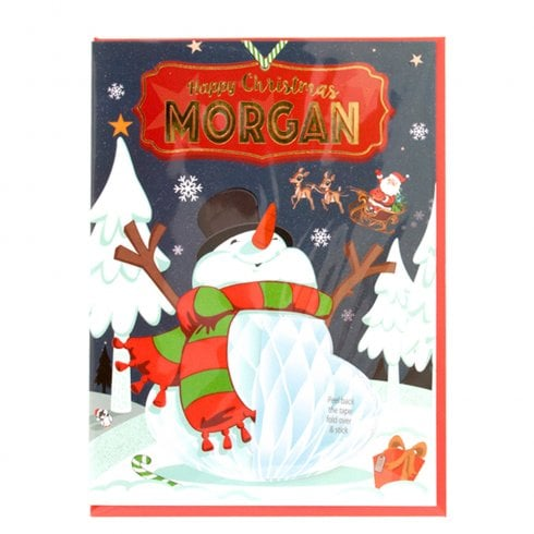 History & Heraldry Pre-personalised Christmas Card for Morgan