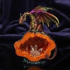 Purple And Gold Dragon 14cm Hand Painted Resin Figurine