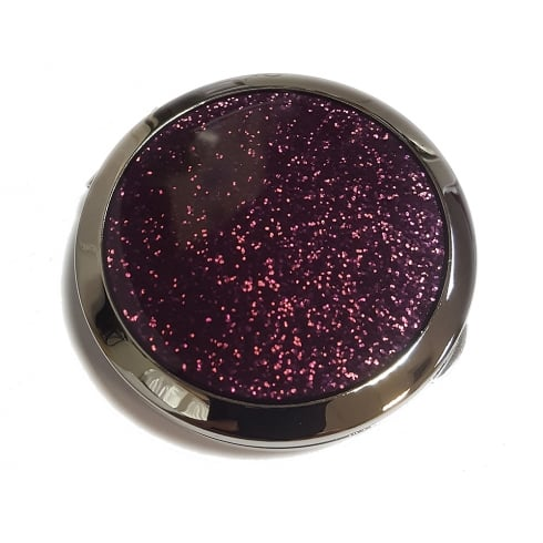 Silver Options Purple Glitz Compact Mirror