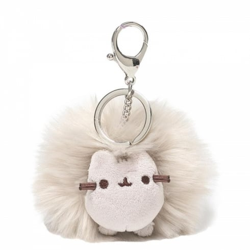 Gund Pusheen Cat Grey Pom Keychain Bag Charm