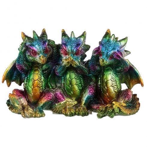 Puckator Rainbow Metallic Dragon Hear No See No Speak No Evil
