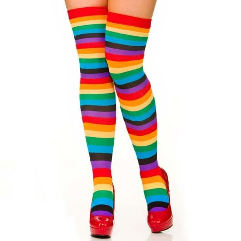 Wicked Costumes Rainbow Thigh High Socks