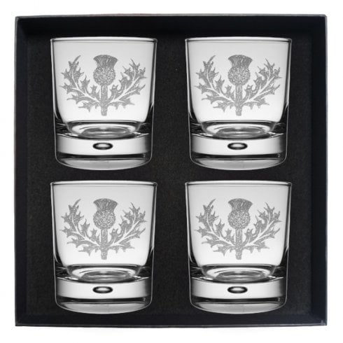 Art Pewter Rampant Lion Clan Crest Whisky Glass Set of 4