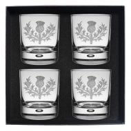 Rampant Lion Clan Crest Whisky Glass Set of 4