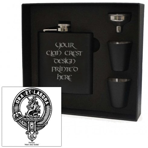 Art Pewter Ramsay Clan Crest Black 6oz Hip Flask Box Set