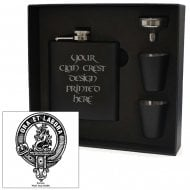 Ramsay Clan Crest Black 6oz Hip Flask Box Set