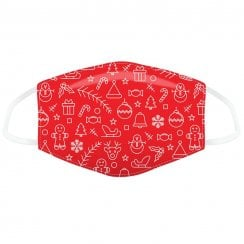 Red Christmas Icons Face Covering - Large