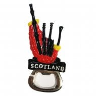 Red Scotland Bagpipe Magnet Bottle Opener