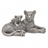 Reflections Silver Painted Lion & Baby Resin Figurine