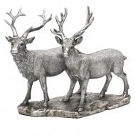 Reflections Silver Painted Stag & Deer Resin Figurine