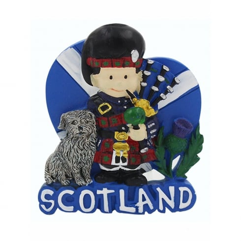EastWest Resin Magnet With Bagpiper And Bobby